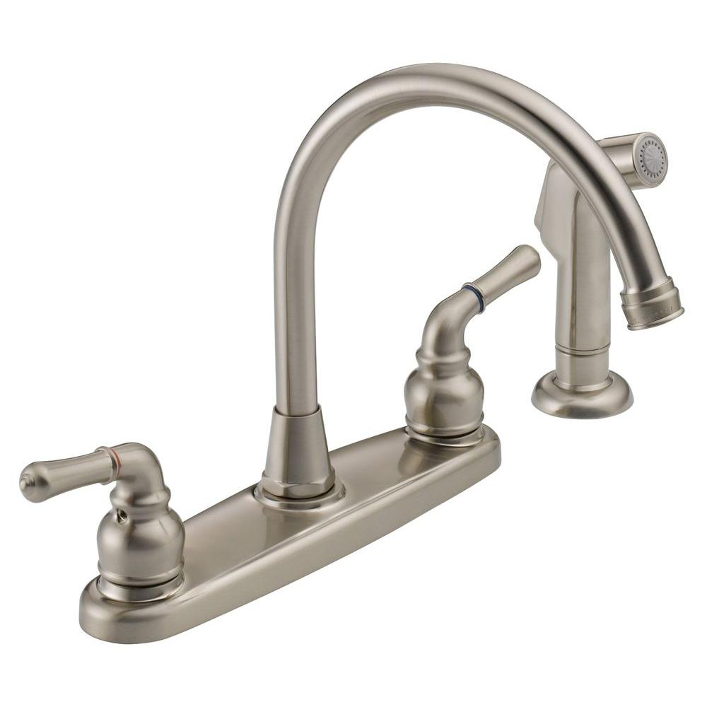 High Arc 2 Handle Standard Kitchen Faucet With Side Sprayer In Stainless Steel Was01 20 The