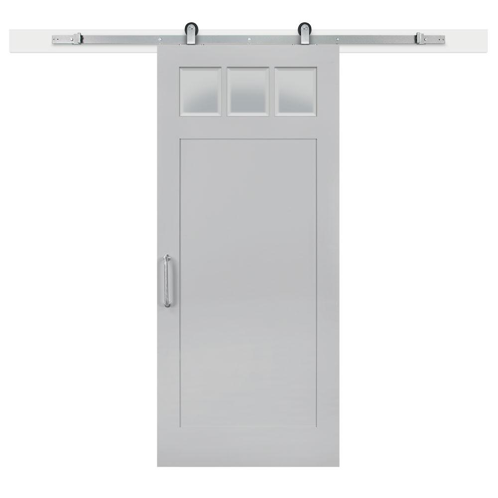 36 in. x 84 in. Gray Geese Craftsman Privacy 3-Lite Solid-Core