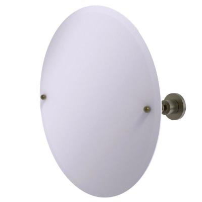 22 in. x 22 in. Astor Place Frameless Round Tilt Mirror with Beveled Edge in Antique Brass