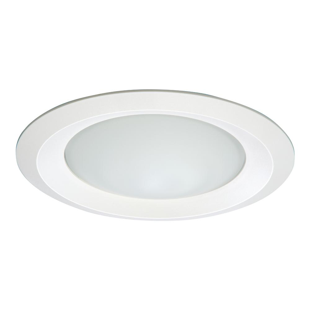 White Recessed Ceiling Light Fixture Trim With Frosted Gl Lens