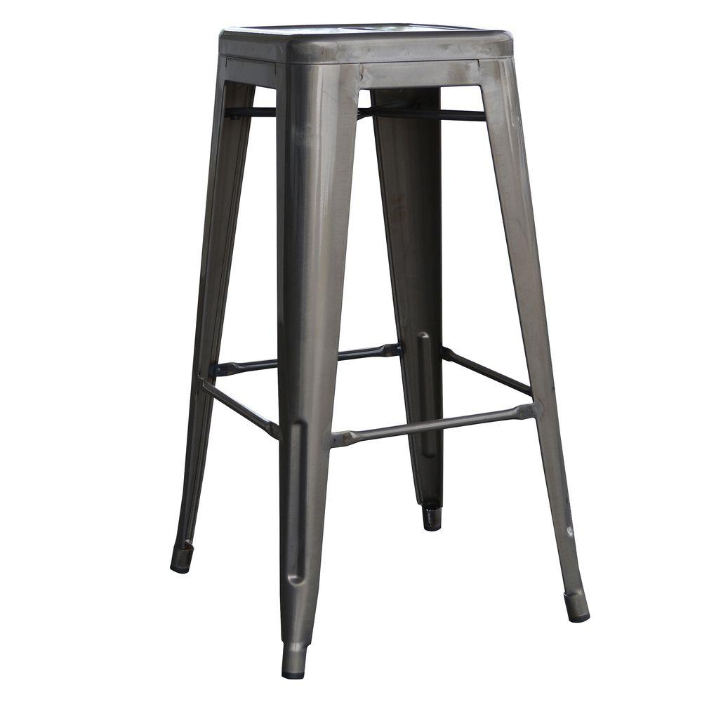 stackable metal bar stool in gunmetal silver (set of. amerihome loft style  in stackable metal bar stool in gunmetal