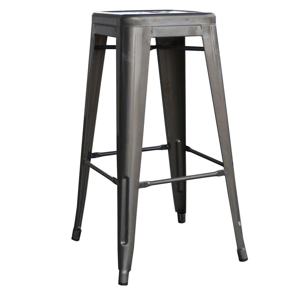 AmeriHome Loft Style 30 in. Stackable Metal Bar Stool in Gunmetal