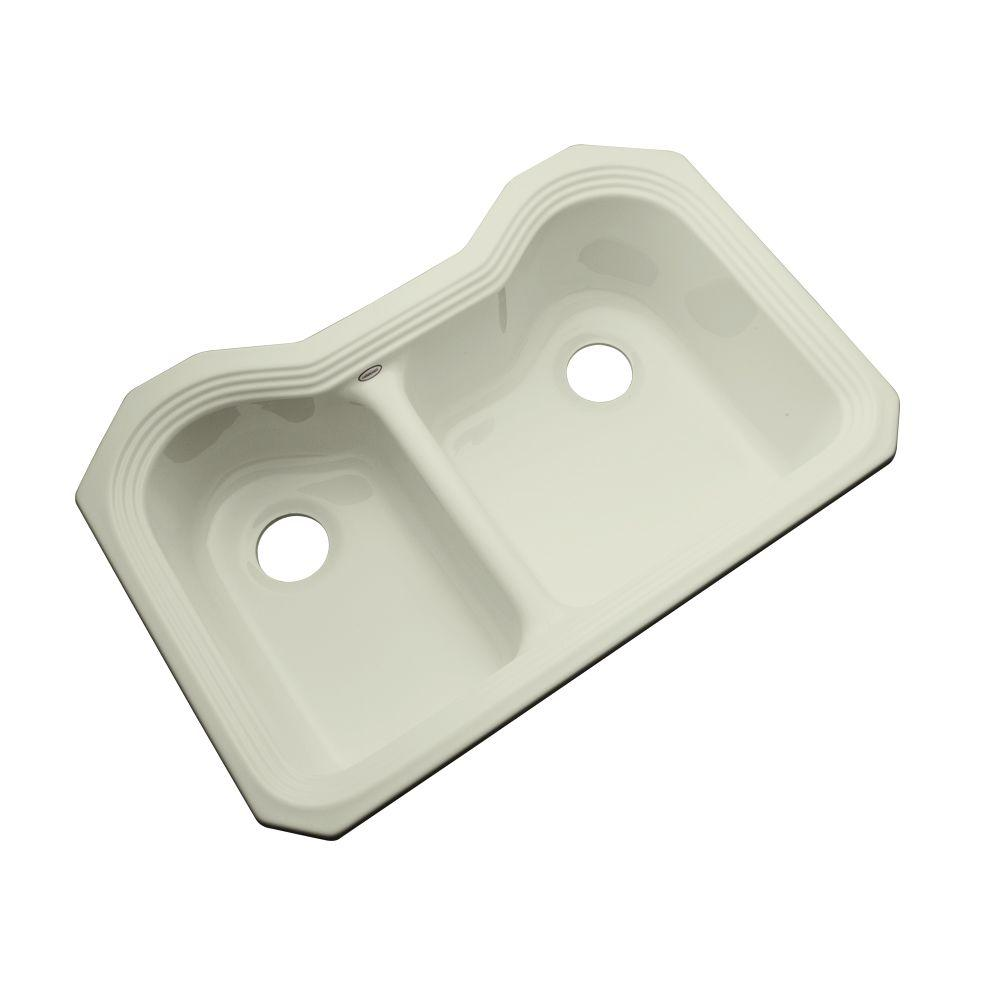 Thermocast Breckenridge Undermount Acrylic 33 in. Double Basin Kitchen Sink in Jersey Cream