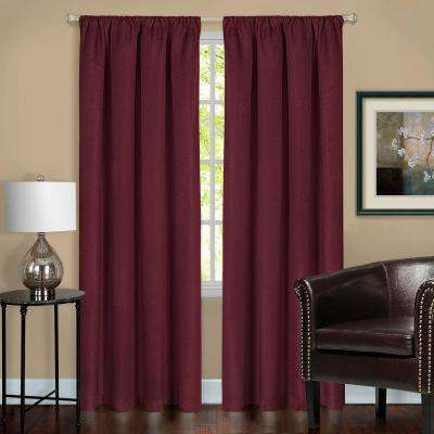 Harmony Burgundy Polyester Rod Pocket Blackout Panel - 52 in. W x 84 in. L
