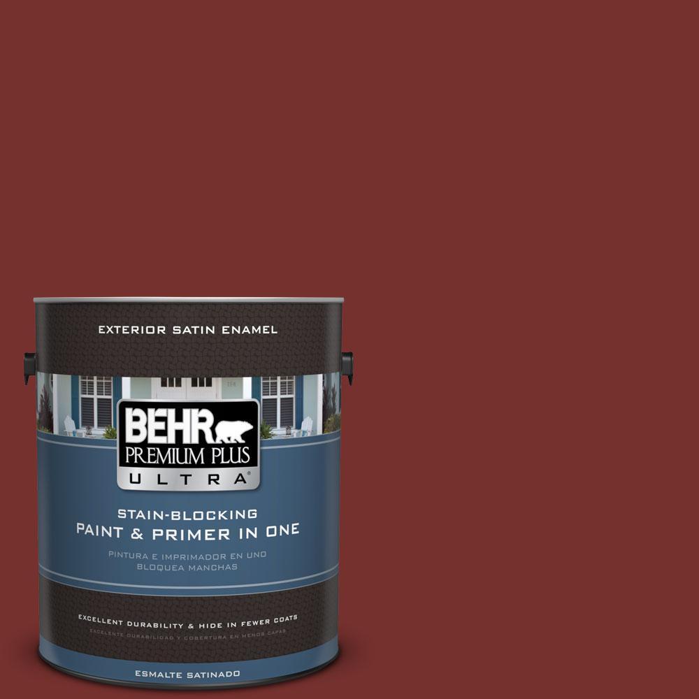 BEHR Premium Plus Ultra 1-gal. #ECC-15-3 Cherry Bark Satin Enamel Exterior Paint