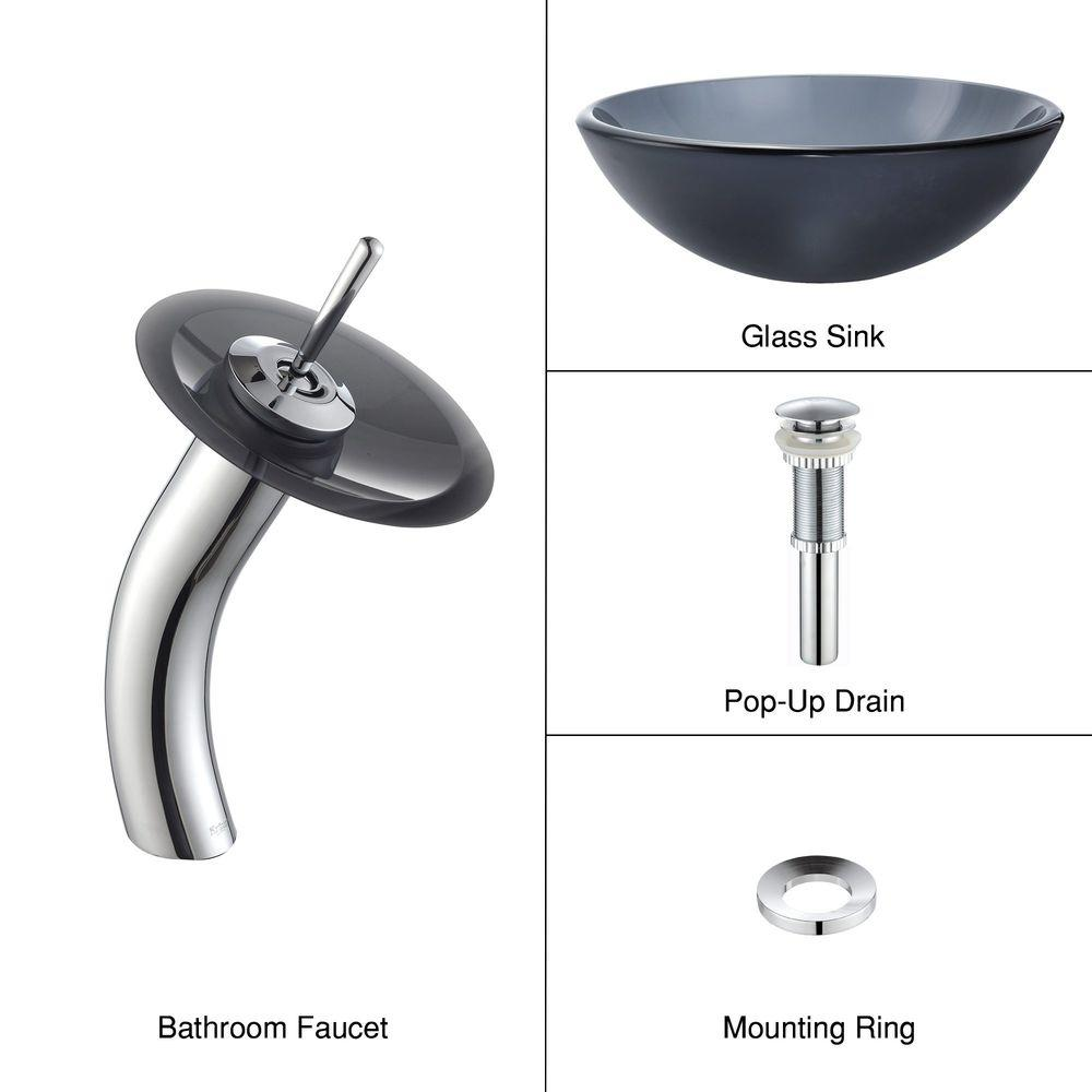 KRAUS Glass Bathroom Sink in Frosted Black with Single Hole 1-Handle Low Arc Waterfall Faucet in Chrome-DISCONTINUED