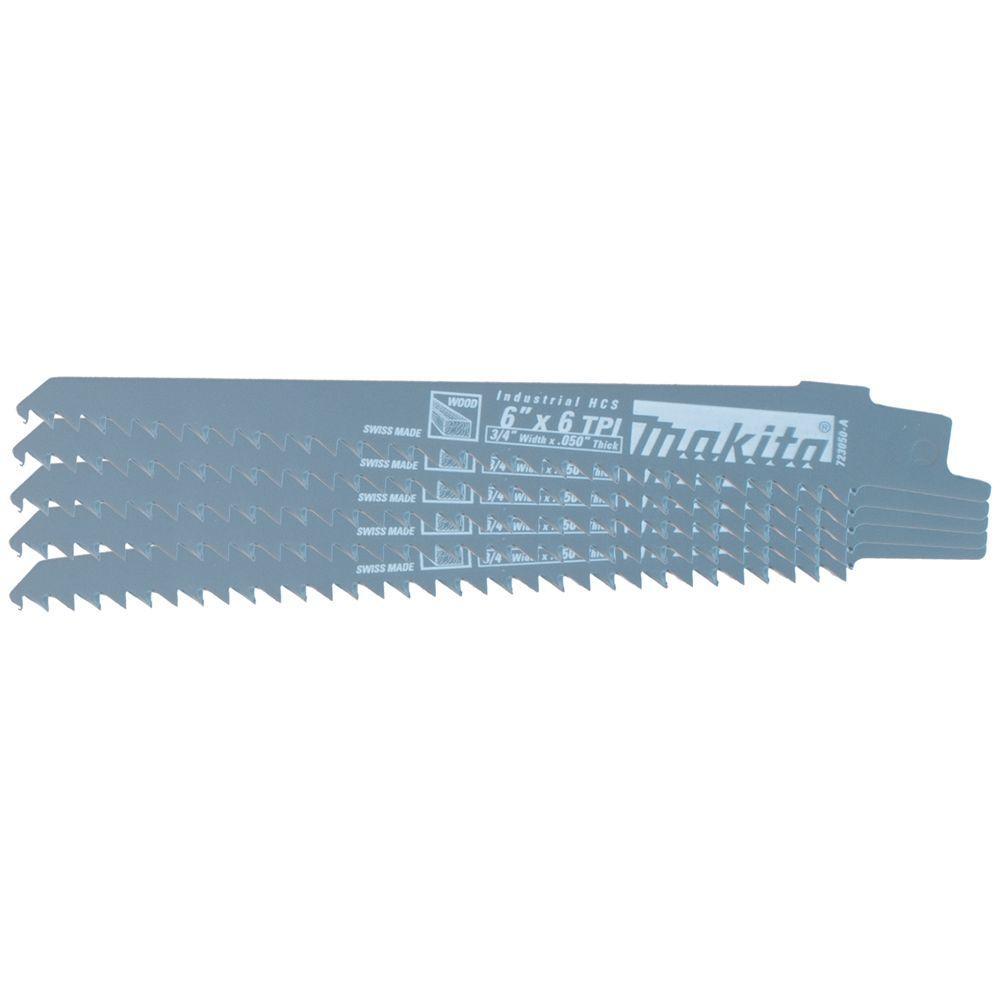 Makita 6 inch 6 Teeth per inch Wood Cutting Reciprocating Saw Blade (5-Pack) by Makita