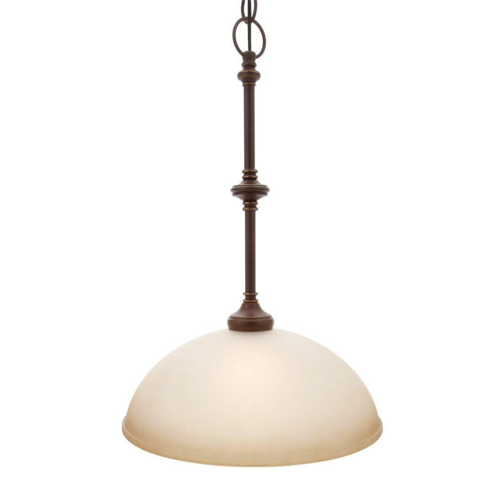 Hampton Bay Bristol Collection 1 Light Nutmeg Bronze Pendant With Tea Stained Gl Shade