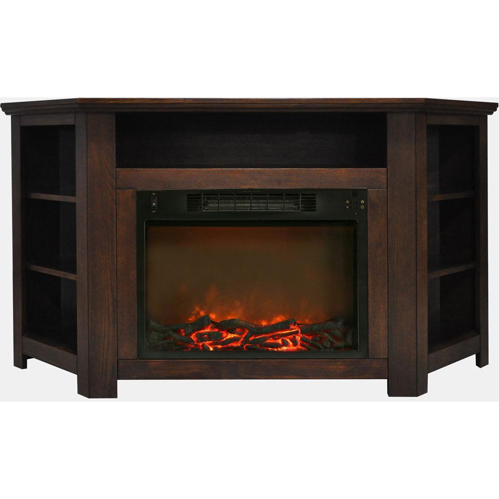 Tyler Park 56 in. Electric Corner Fireplace in Walnut with 1500-Watt Fireplace Insert