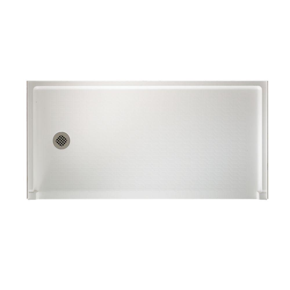 Swan Veritek 30 in. x 60 in. Single Threshold Left-Drain Barrier-Free Shower Floor in White