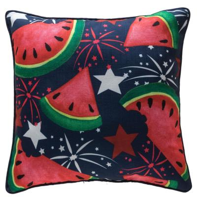 f3c7c9528e57 18 in. 4th of July Watermelon and Stars Reversible Pillow