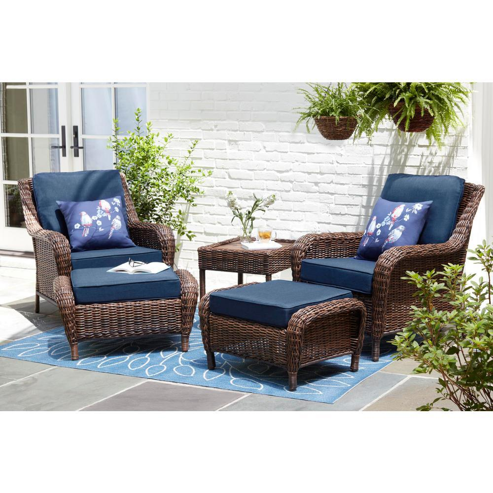 Hampton Bay Cambridge Brown 5 Piece Wicker Patio Conversation Set With Blue Cushions 65 17148b 5 The Home Depot