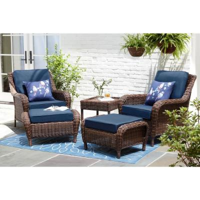 Cambridge Brown 5-Piece Wicker Patio Conversation Set with Blue Cushions