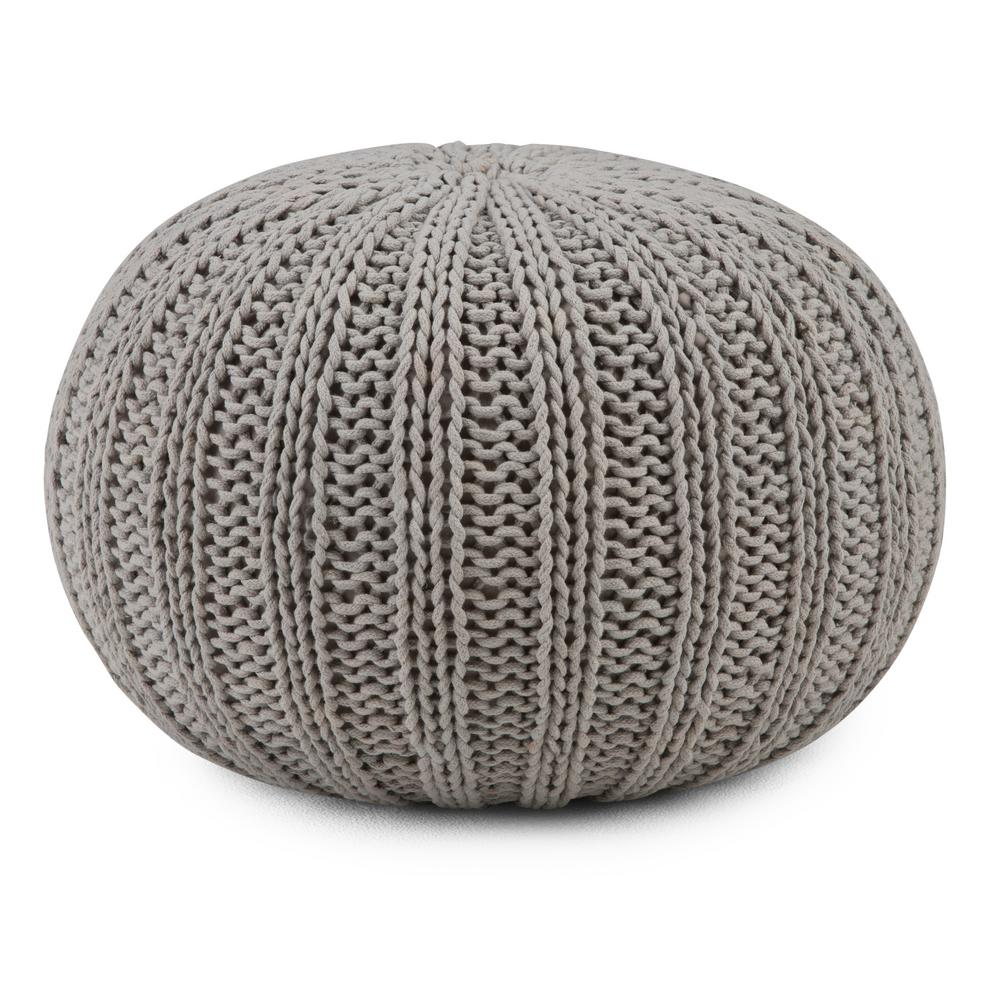 Simpli Home Shelby Transitional Round Hand Knit Pouf in Dove Grey Cotton