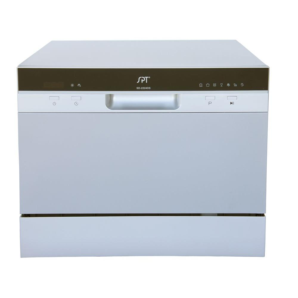 spt countertop dishwasher in silver with delay start and 6 place settings capacity