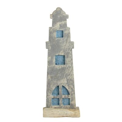 15 in. Natural Distressed Wood Cape Cod Inspired Nautical Beacon