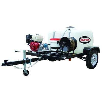 4200 psi at 4.0 GPM with HONDA GX390 CAT Triplex Pump Professional Gas Powered Pressure Washer Trailer