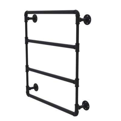 Pipeline Collection 30 in. Wall Mounted Ladder Towel Bar in Matte Black