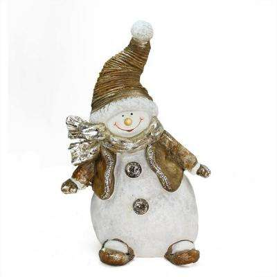 17 in. Whimsical Snowshoeing Ceramic Christmas Snowman Decorative Tabletop Figure