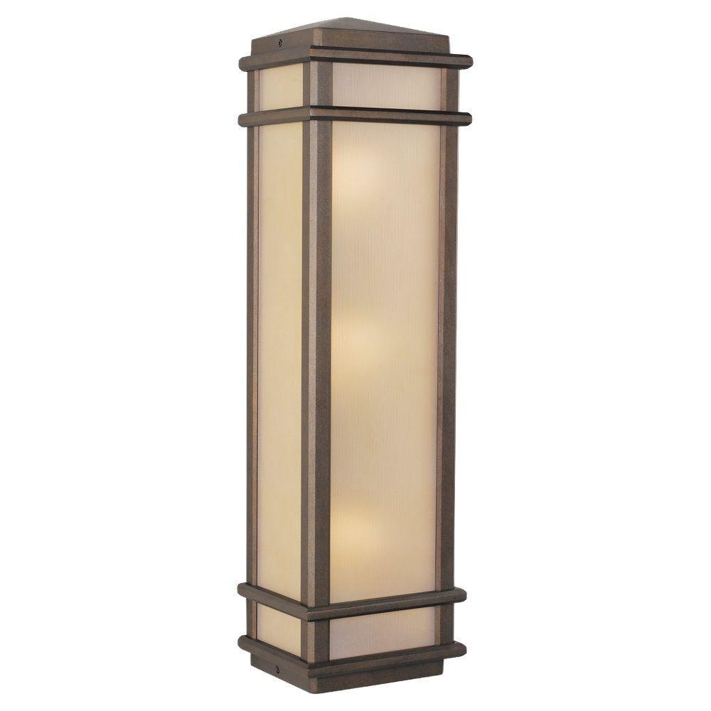 Feiss Mission Lodge 3-Light Corinthian Bronze Outdoor Wall Lantern