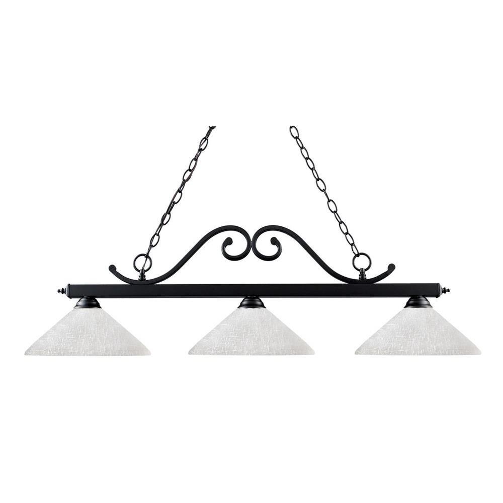 Lawrence 3-Light Matte Black Incandescent Ceiling Island Light