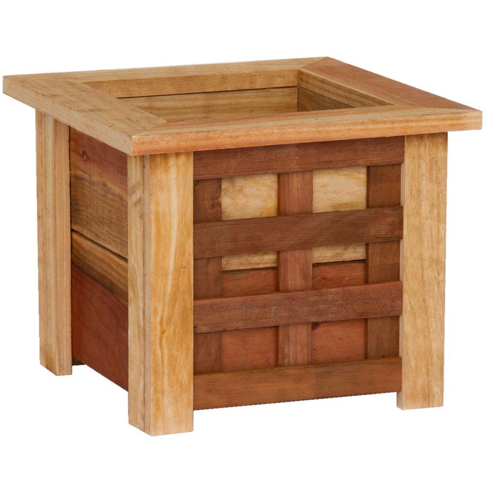 Hollis Wood Products 16 in. x 16 in. Redwood Planter with Lattice-DISCONTINUED