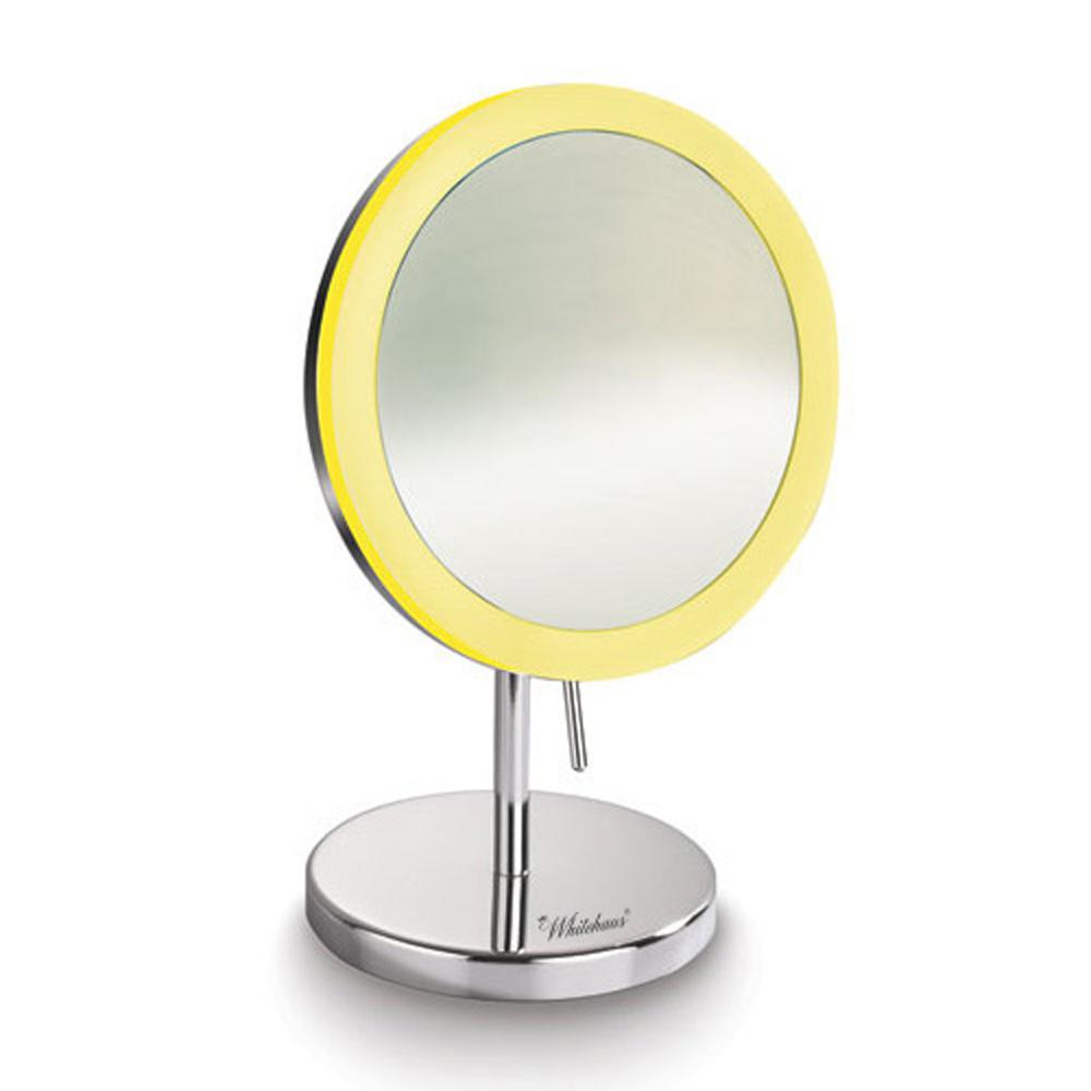Whitehaus Collection Round 8 in. x 12-1/2 in. Freestanding Framed Freestanding LED Makeup Mirror in Polished Chrome with 5x Magnification