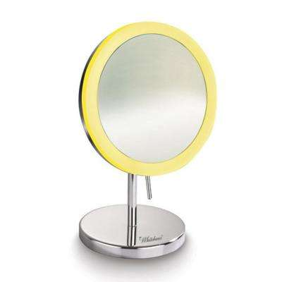 Round 8 in. x 12-1/2 in. Freestanding Framed Freestanding LED Mirror in Polished Chrome with 5x Magnification