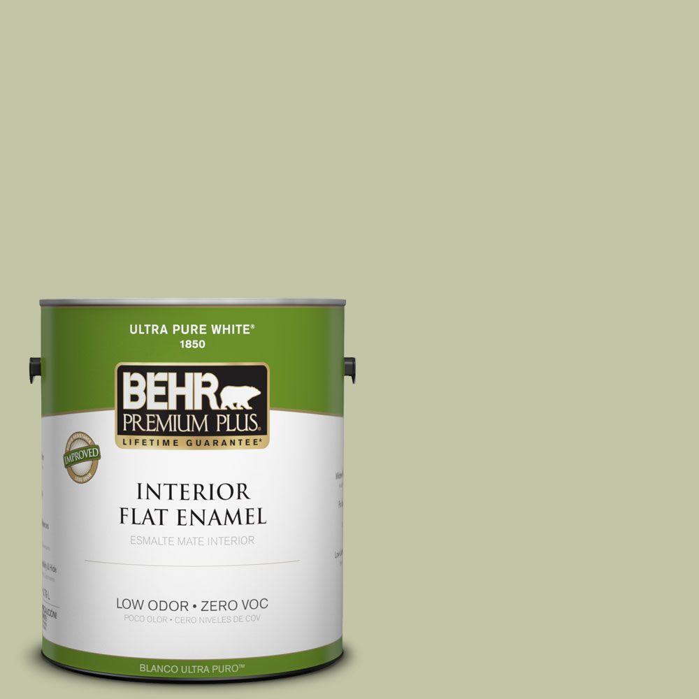 BEHR Premium Plus 1-gal. #410E-3 Rejuvenate Zero VOC Flat Enamel Interior Paint-DISCONTINUED