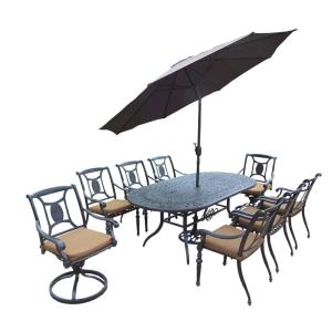 Click here to buy  Belmont 9-Piece Oval Aluminum Patio Dining Set with Sunbrella Canvas Teak Cushions and....