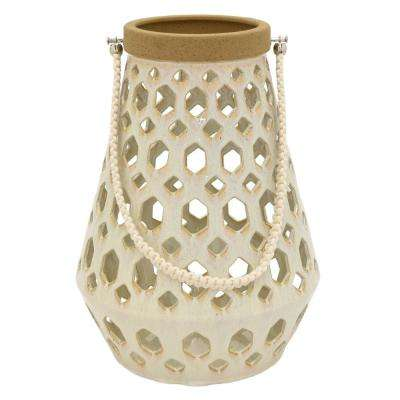 10.5 in. x 10.5 in. White Ceramic Lantern
