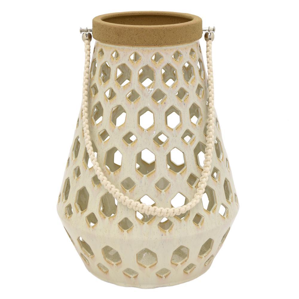 10.5 in. x 10.5 in. White Ceramic Lantern