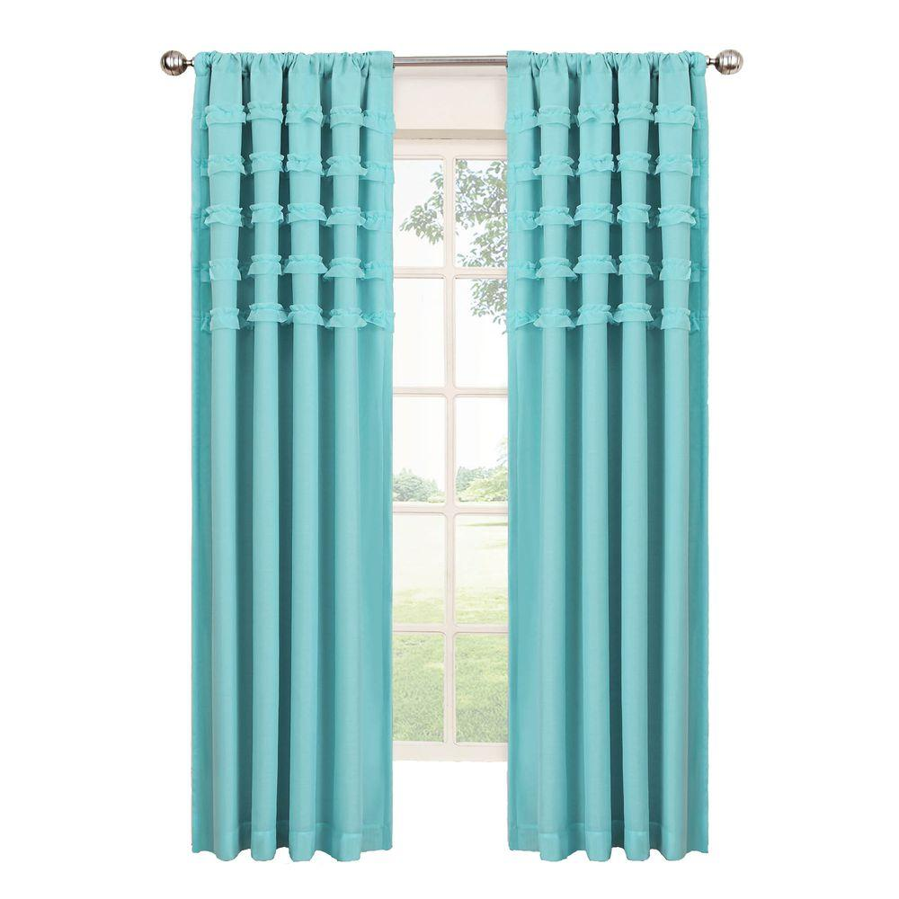Blackout Ruffle Batiste Blackout Pool Polyester Rod Pocket Curtain, 84 in.