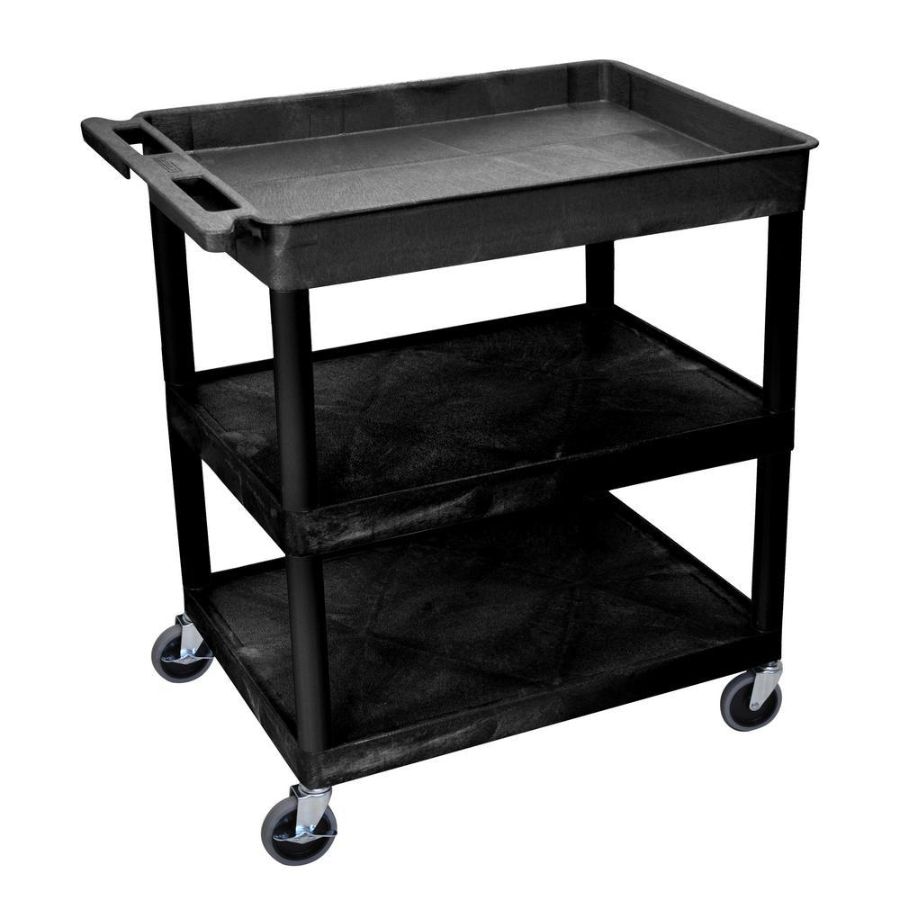 TC 32 in. 3-Shelf Utility Cart in Black