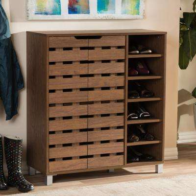 18-Pair Shirley Medium Brown Wood  Storage Shoe Organizer