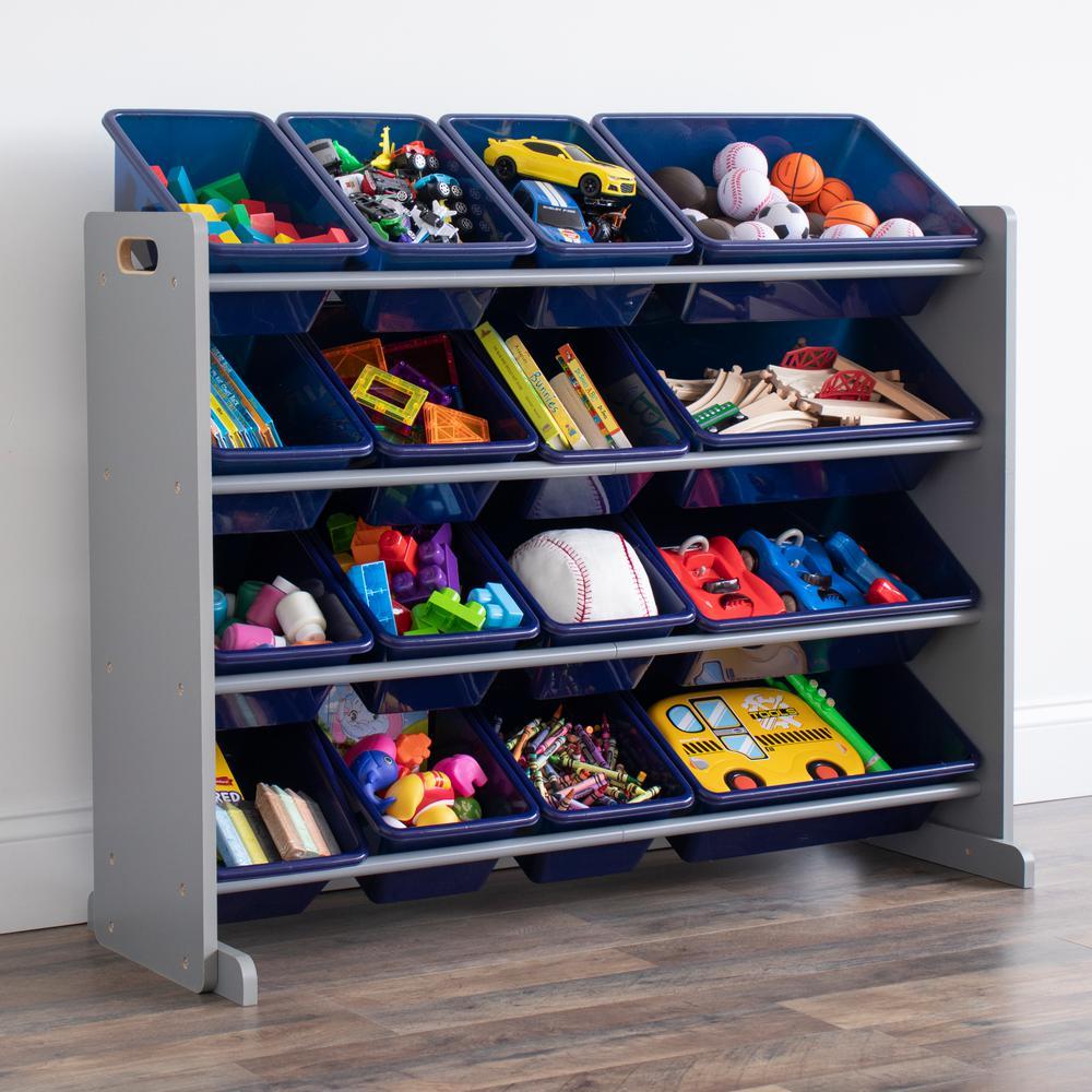 """Newport Navy 31""""H Super Sized Toy Storage Organizer with 16 Storage Bins"""