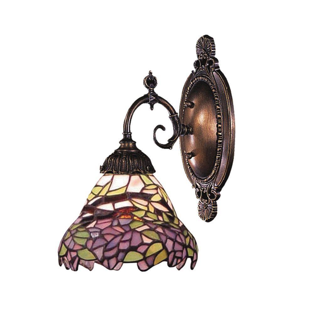 Titan Lighting 1-Light Tiffany Bronze Sconce