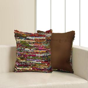 LR Resources 26 inch x 26 inch Multi Square Decorative Indoor Accent Pillow by LR Resources