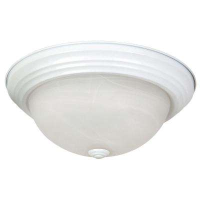 Belen 2-Light White Flush Mount with White Marble Glass Shade