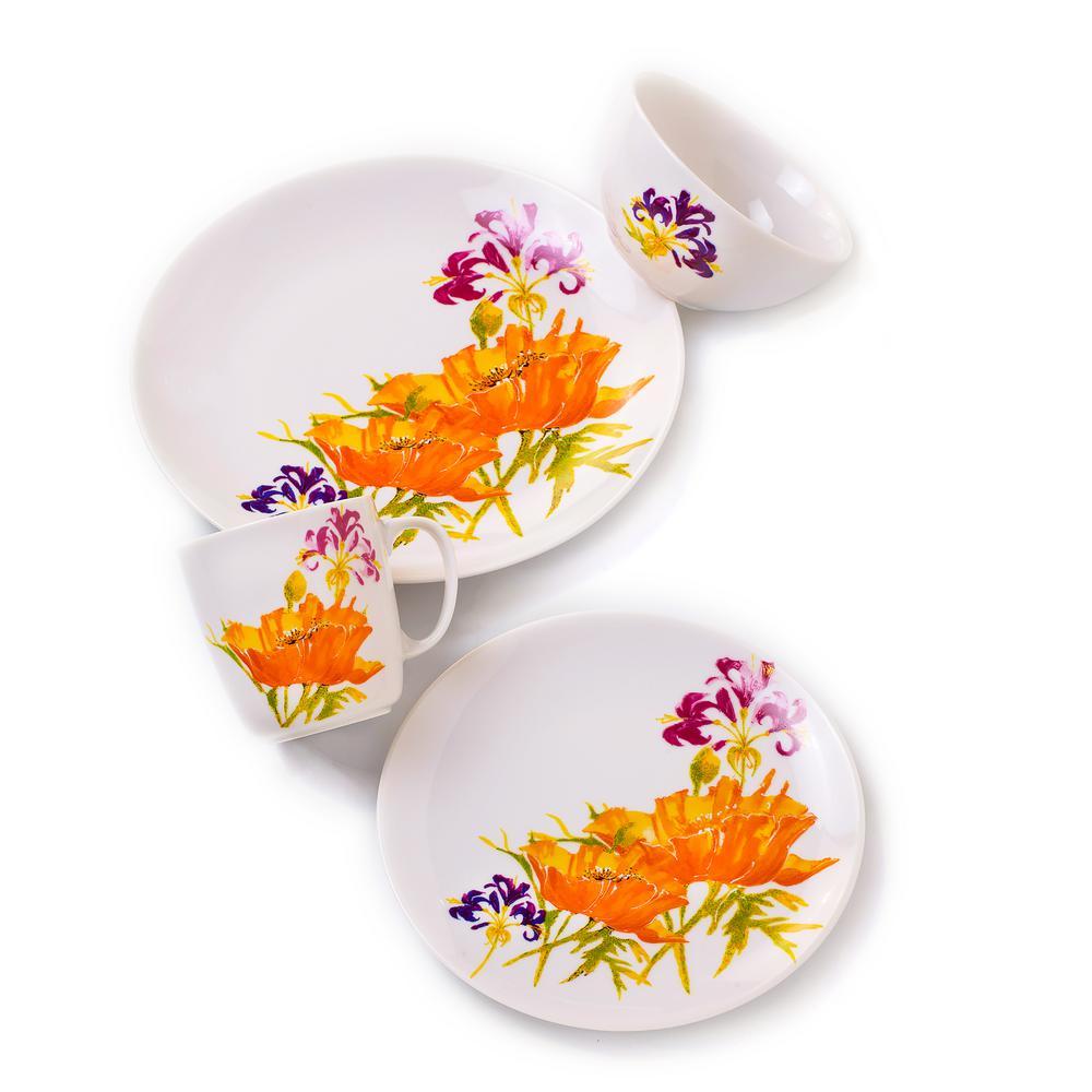 Euro Ceramica Tiger Lilly 16-Piece Multi-Color Dinnerware Set