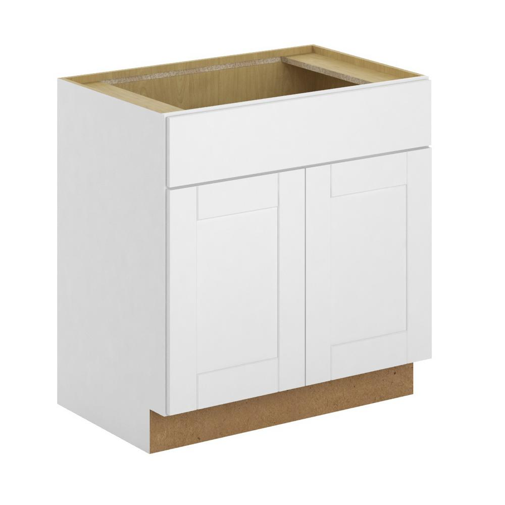 Princeton Shaker Assembled 30x34.5x24 in. Sink Base Cabinet in Warm White