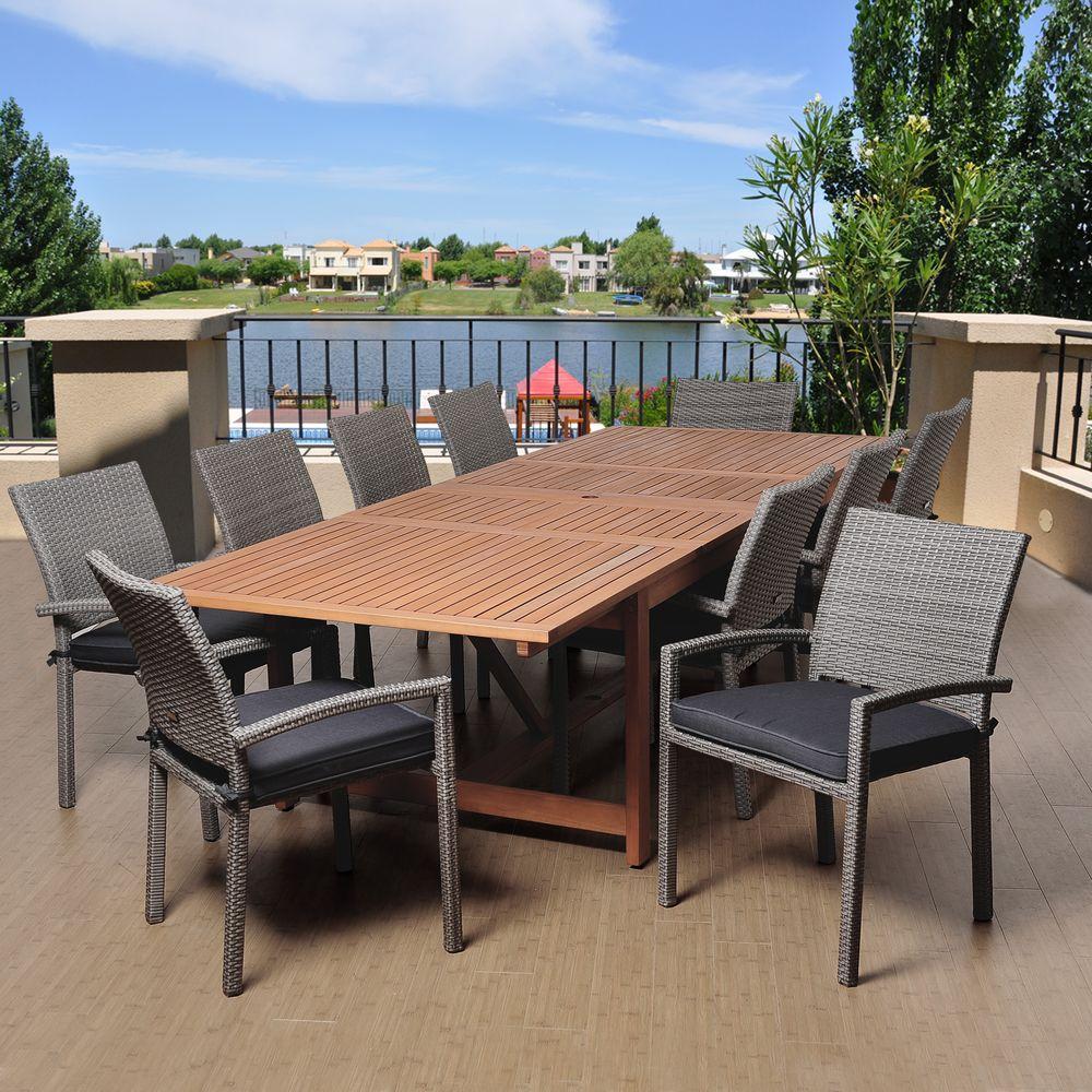 jones 11piece eucalyptus extendable rectangular patio dining set with grey cushions