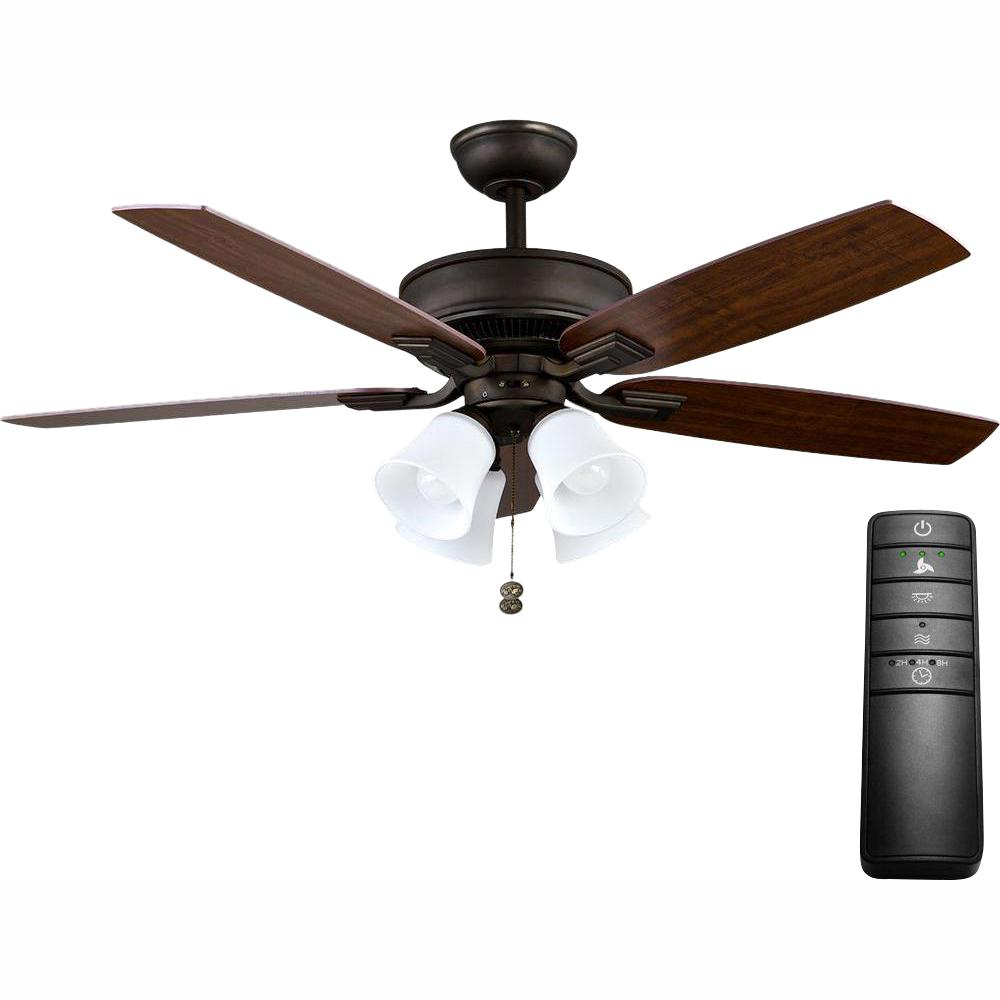 Hampton Bay Devron 52 in. LED Oil-Rubbed Bronze Ceiling Fan with Light Kit and Remote Control