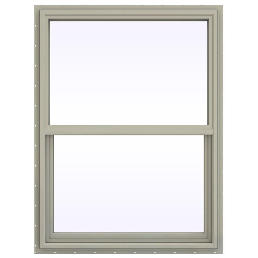 JELD-WEN 35.5 in. x 53.5 in. V-4500 Series Single Hung Vinyl Window - Tan