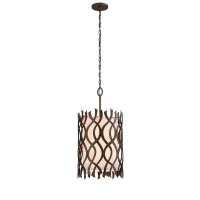 Mai Tai 6-Light Cottage Bronze 18 in. W Pendant with Hardback Linen Shade