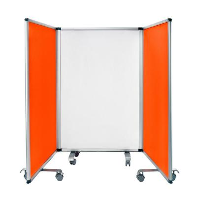 42 in. x 29.25 in. Red Portable Double-Sided 3 Panel Mobile White Board and Flannel Partition
