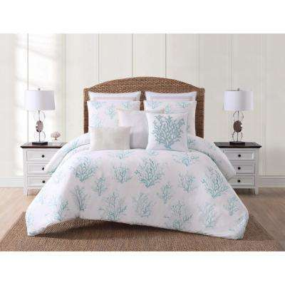 Cove White and Blue King Comforter with 2-Shams