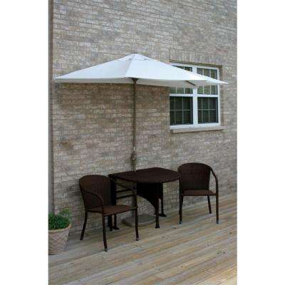 Terrace Mates Adena 5-Piece Java Patio Bistro Set with 9 ft. Natural Solarvista Half-Umbrella