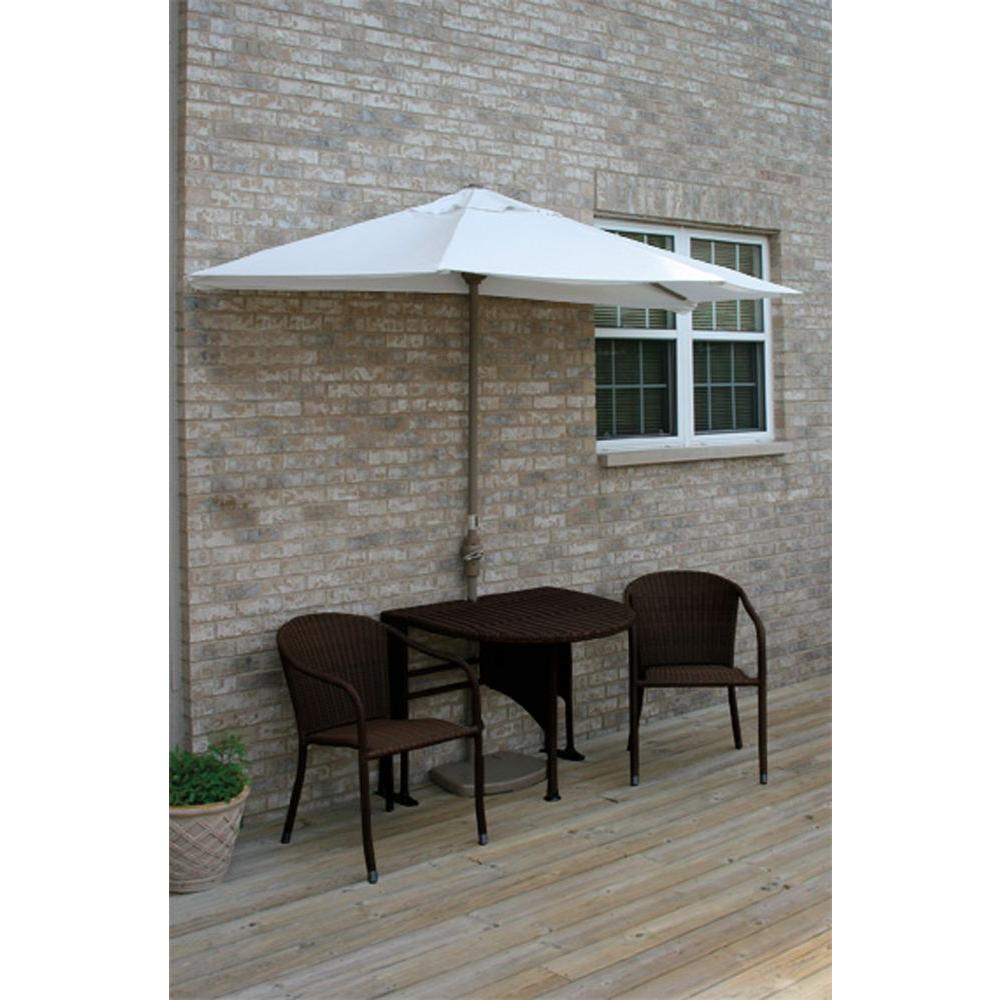Blue Star Group Terrace Mates Genevieve 5-Piece Java Patio Bistro Set with 9 ft. Natural Solarvista Half-Umbrella