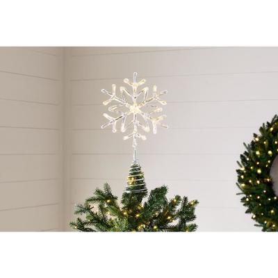 14.5 in. 3 Function Bi-Color LED Acrylic Snowflake Christmas Tree Topper